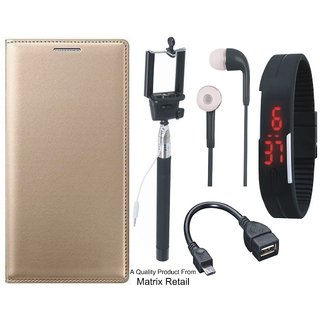 Vivo V3 Leather Finish Flip Cover with Free Selfie Stick, Digtal Watch, Earphones and OTG Cable