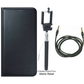 Oppo Neo 5 Leather Finish Flip Cover with Free Selfie Stick and AUX Cable