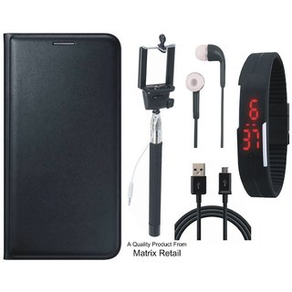 Samsung J7 Prime SM-G610F Leather Finish Flip Cover with Free Selfie Stick, Digtal Watch, Earphones and USB Cable