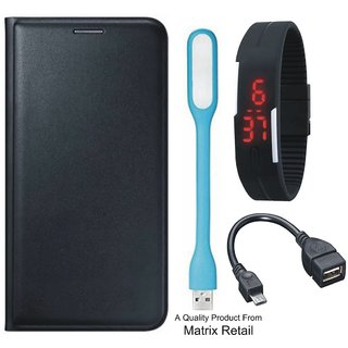 Coolpad Note 3s Leather Finish Flip Cover with Free Digital Watch OTG Cable and  LED Light