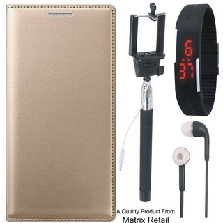 Vivo V3 Leather Finish Flip Cover with Free Selfie Stick, Digtal Watch and Earphones