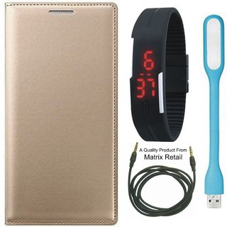 Mola Moto Z Play Leather Finish Flip Cover with Free Digital Watch  LED Light and AUX Cable