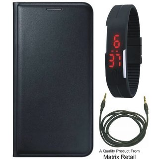Coolpad Note 3s Leather Finish Flip Cover with Free Selfie Stick, Digtal Watch and OTG Cable