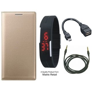 CoolPad Note 5 Leather Finish Flip Cover with Free Digital Watch and Earphones