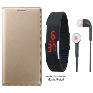 Zenfone 2 Laser ZE500KL Leather Finish Flip Cover with Free Digital Watch and Earphones