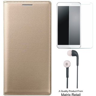 Oppo Neo 7 Leather Finish Flip Cover with Free Tempered Glass and Earphones