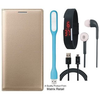 Lenovo A6600 Leather Finish Flip Cover with Free Digital Watch s  LED Light and  Cable