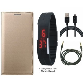 Lenovo A6600 Leather Finish Flip Cover with Free Digital Watch, USB Cable and AUX Cable