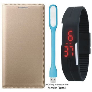 Mola G Play 4th Gen Leather Finish Flip Cover with Free Digital Watch and  LED Light