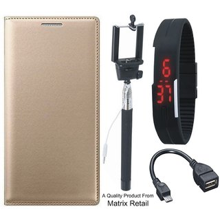 Lenovo a7700 Leather Finish Flip Cover with Free Selfie Stick, Digtal Watch and OTG Cable