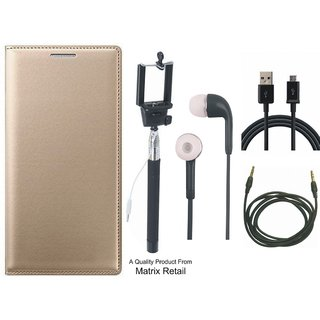 Vivo V3 Leather Finish Flip Cover with Free Selfie Stick, Earphones, USB Cable and AUX Cable