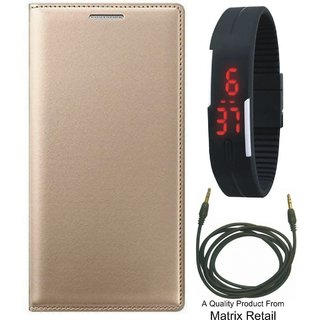 Vivo Y37 Leather Finish Flip Cover with Free Digital Watch and AUX Cable
