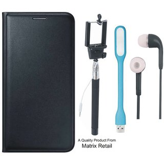 Coolpad Note 3s Leather Finish Flip Cover with Free Selfie Stick s and  LED Light
