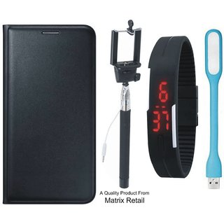 Motorola Moto Z Leather Finish Flip Cover with Free Digital Watch, Earphones, USB Cable and AUX Cable