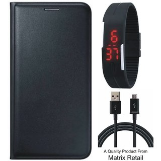 Vivo V3 Max Leather Finish Flip Cover with Free Digital Watch and USB Cable