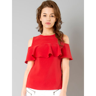 Westrobe Women Red Plain Ruffle Top