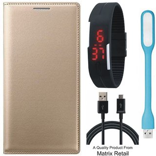 Mola G Play 4th Gen Leather Finish Flip Cover with Free Digital Watch  LED Light and  Cable