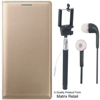 CoolPad Note 5 Leather Finish Flip Cover with Free Selfie Stick and Earphones