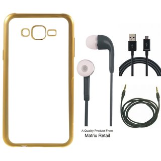 Lenovo a7700 Chrome TPU Back Cover with Golden Electroplated Edges with Free Earphones, USB Cable and AUX Cable