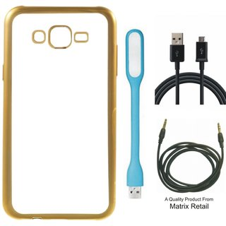 Lenovo a7700 Chrome TPU Back Cover with Golden Electroplated Edges with Free  LED Light  Cable and AUX Cable