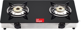 Fabiano ISI MARKED FabSurya 2 Burner Toughened Glass Top Manual Gas Cooktop - Grey
