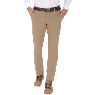 Inspire Slim Fit Men's Dark Beige Lycra Trousers