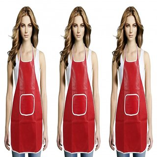 JS Home Red Kitchen Apron - Set of 3