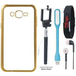 Lenovo K6 Chrome TPU Back Cover with Golden Electroplated Edges with Free Selfie Stick Digtal Watch s and  LED Light