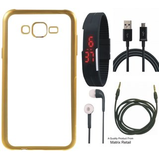 Vivo Y21 Chrome TPU Back Cover with Golden Electroplated Edges with Free Digital Watch, Earphones, USB Cable and AUX Cable