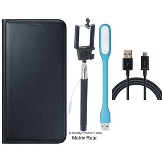 Leather Flip Cover for  J5 Prime SM-G570F with Free Selfie Stick  LED Light and  Cable