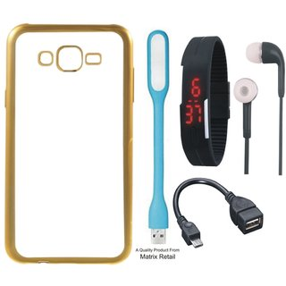 5 and  5S Chrome TPU Back Cover with Golden Electroplated Edges with Free Digital Watch s  LED Light and OTG Cable