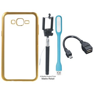 J7 Prime SM-G610F Chrome TPU Back Cover with Golden Electroplated Edges with Free Selfie Stick LED Light and OTG Cable
