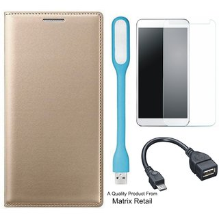 Leather Flip Cover for Moto E3 Power with Free Tempered Glass  LED Light and OTG Cable