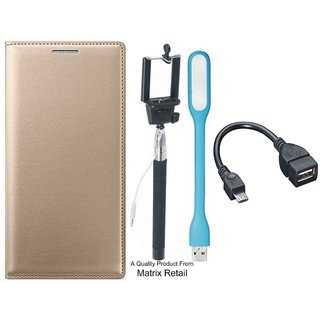 Leather Flip Cover for Vivo Y37 with Free Selfie Stick LED Light and OTG Cable