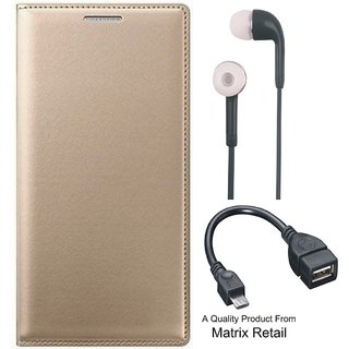 Leather Flip Cover for Lenovo A6600 with Free Earphones and OTG Cable