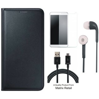 Leather Flip Cover for Vivo V3 with Free Earphones, Tempered Glass and USB Cable