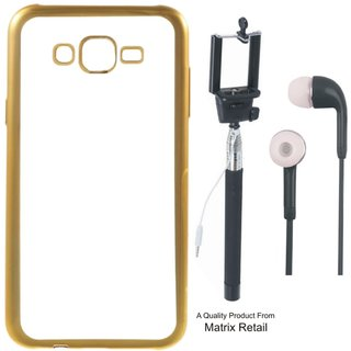 Lenovo K5 ( 5.5 Inch ) Chrome TPU Back Cover with Golden Electroplated Edges with Free Selfie Stick and Earphones