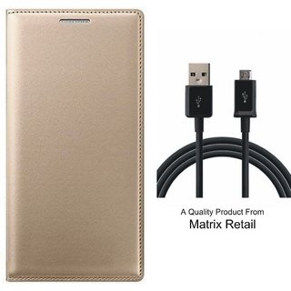 Leather Flip Cover for  J7 Prime SM-G610F with Free  Cable