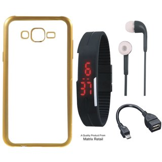 Samsung J7 2016 ( J7-6 ) Chrome TPU Back Cover with Golden Electroplated Edges with Free Digital Watch, Earphones and OTG Cable