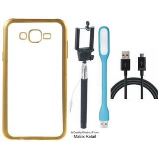 Lenovo K6 Chrome TPU Back Cover with Golden Electroplated Edges with Free Selfie Stick  LED Light and  Cable