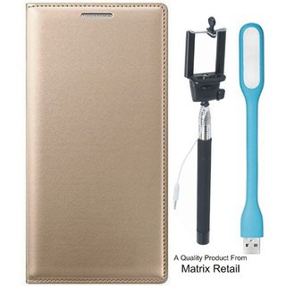 Leather Flip Cover for  J5 Prime SM-G570F with Free Selfie Stick and  LED Light
