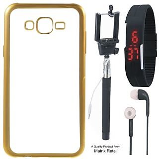 Lenovo K5 ( 5.5 Inch ) Chrome TPU Back Cover with Golden Electroplated Edges with Free Selfie Stick, Digtal Watch and Earphones