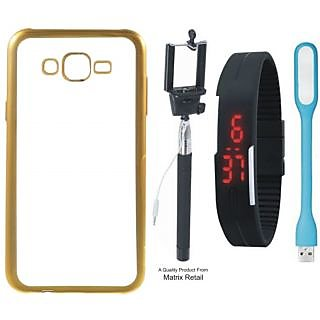 Oppo Neo 7 Chrome TPU Back Cover with Golden Electroplated Edges with Free Selfie Stick Digtal Watch and  LED Light