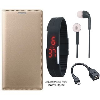 Leather Flip Cover for Coolpad Note 3 Lite with Free Digital Watch s and OTG Cable