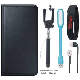 Leather Flip Cover for Mola G Play 4th Gen with Free Selfie Stick Digtal Watch s and  LED Light