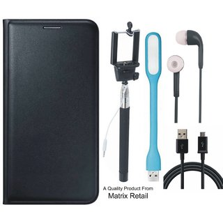 Leather Flip Cover for  J5 Prime SM-G570F with Free Selfie Stick s  LED Light and  Cable