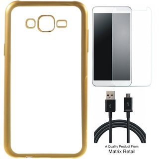 Chrome Tpu Back Cover for Moto E3 with Golden Electroplated Edges with Free Tempered Glass and  Cable