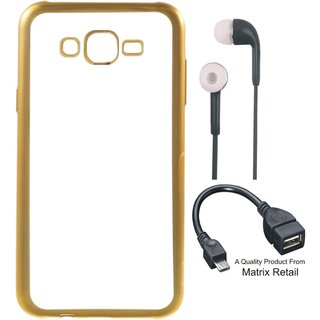 Chrome Tpu Back Cover for Vivo Y21 with Golden Electroplated Edges  with Free Earphones and OTG Cable
