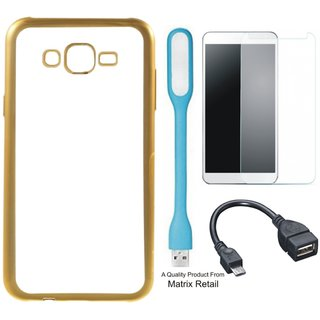 Chrome Tpu Back Cover for   6 Plus with Golden Electroplated Edges with Free Tempered Glass  LED Light and OTG Cable