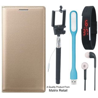 Leather Flip Cover for Vivo Y51 with Free Selfie Stick Digtal Watch s and  LED Light